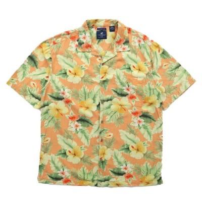 古着 開襟 アロハシャツ ハワイアンシャツ ハイビスカス オレンジベージュベース サイズ表記:XL