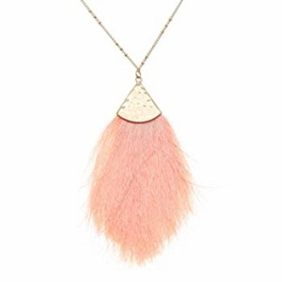 MIRMARU Feather Dangle Drops Fringe Tassel Pendant Necklace - Fine Silky Thread with Long Chain Necklaces Statement for Women an
