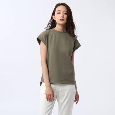 アンタイトル UNTITLED 【洗える】テックリノジャージフレンチTシャツ (カーキ)