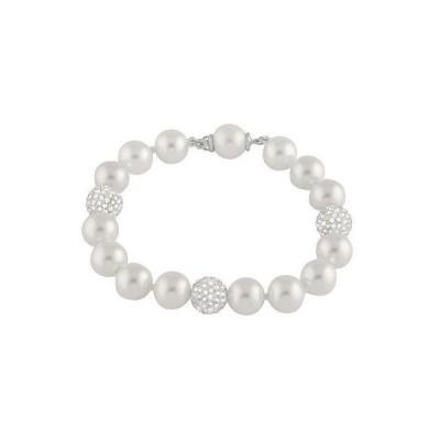 スプレンディット Pearls ブレスレット 腕輪 アクセサリー 10ミリ Shell パール ブレスレット ウイズ 3 ホワイト CZ パヴェ クリスタル balls OB-02