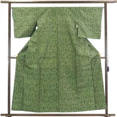 リサイクル着物 紬 正絹グリーン地袷紬着物