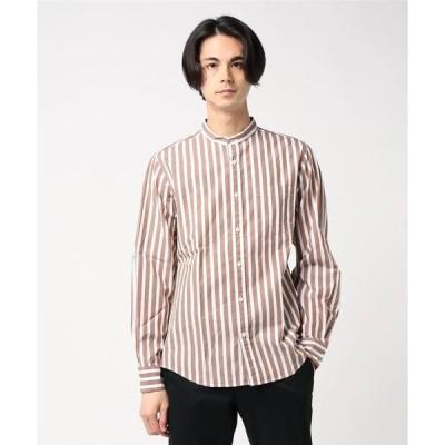 シャツ ブラウス :ブロードストライプバンドカラーシャツ LS