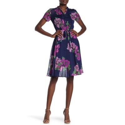 ナネットレポー レディース ワンピース トップス Floral Short Sleeve Dress NAVY 160-3