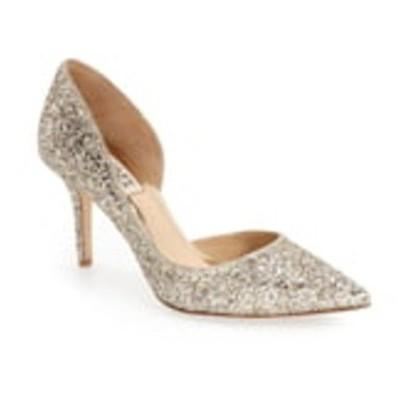 バッドグレイミッシカ パンプス シューズ レディース Badgley Mischka Daisy Embellished Pointed Toe Pump Platino Glitter Fabric