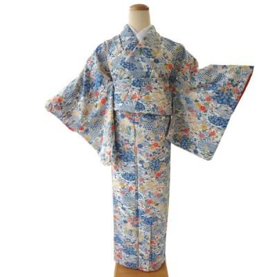 小紋 中古 正絹 格安 安い 美品 リサイクル 仕立て上がり 晴れ着 着物 和装 和服 水色 白 御所解き 風景