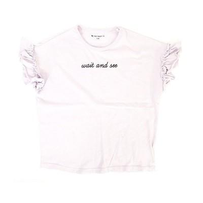 【中古】ザショップティーケー THE SHOP TK Tシャツ カットソー 半袖 フリル ロゴ パープル 130 キッズ 【ベクトル 古着】