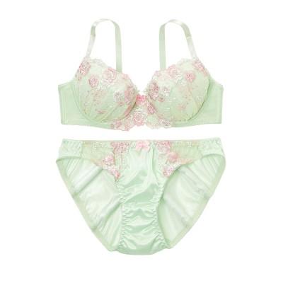 パステルカラーフラワーブラジャー・ショーツセット(C70/M) (ブラジャー&ショーツセット)Bras & Panties