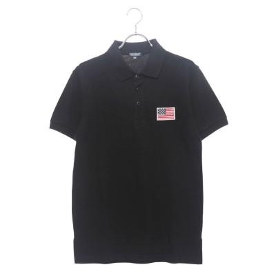 スタイルブロック STYLEBLOCK USA星条旗胸刺繍鹿の子半袖ポロシャツ (ブラック)
