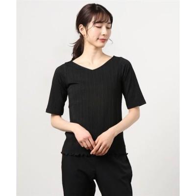 tシャツ Tシャツ 【switch】Vネック5分袖リブTシャツ womens
