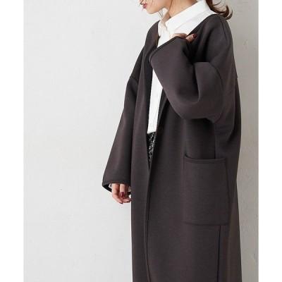 【Du noir】ダンボールニットノーカラーコート