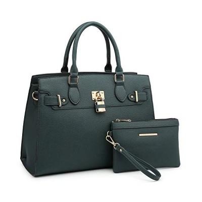 Women Handbag Designer Purse Fashion Ladies Shoulder Bag Top Handle Satchel Bag  with Pouch (02 Litchi Leather- Green)