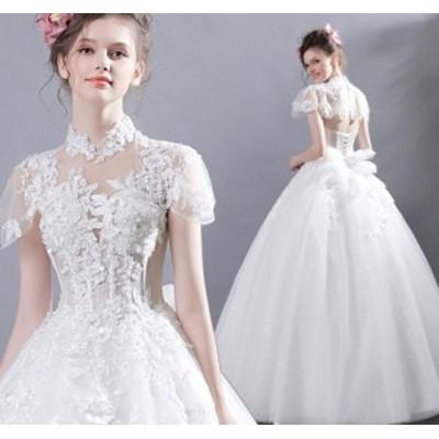 結婚式ワンピース チュールスカート お嫁さん ウェディングドレス 大人の魅力 花嫁 ドレス きれいめ 袖あり 姫系ドレス ホワイト色