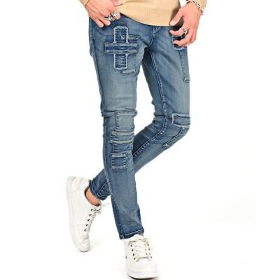 【ラグスタイル】 パッチワークデニム/デニムパンツ メンズ スキニー パッチワーク アンクル丈 BITTER ビター系 メンズ ブルー XL LUXSTYLE