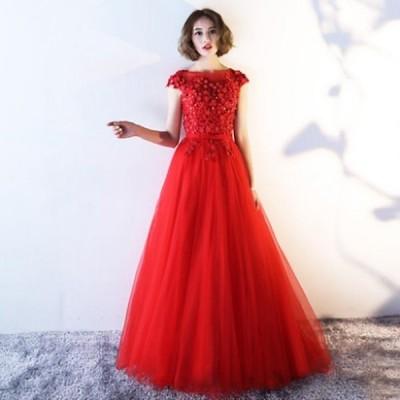 締上げタイプ 上品な 綺麗なレース パーティドレス ピンク  結婚式 2019新作ロングドレス ブルードレス ワンピース パーティードレス ワンピース ドレ 877