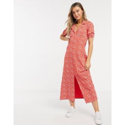 エイソス ASOS DESIGN レディース ワンピース ミドル丈 ワンピース・ドレス ultimate midi tea dress in red ditsy floral レッドフローラル