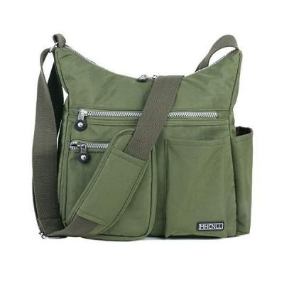 盗難防止RFIDポケット付きの斜めショルダーバッグ-女性用の軽い防水財布 (みどり)