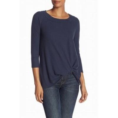 ファッション トップス H by Bordeaux Womens Blue Size Small S Twist Front Crewneck Sweater