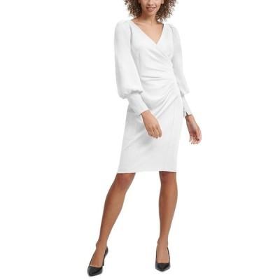 カルバンクライン ワンピース トップス レディース Ruched Sheath Dress Cream