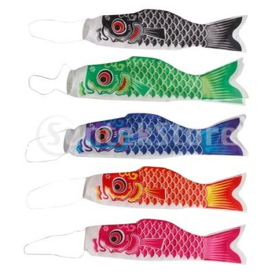 6ピース日本の男の子の日吹流しの鯉旗コイノボリ風ストリーマ魚55センチ