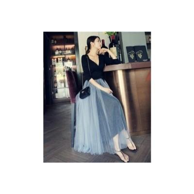 ふんわりメッシュのフレアチュールスカート マキシ丈 無地 ゆったり 大人可愛い フェミニン 春夏 二次会やお呼ばれに SK-0035