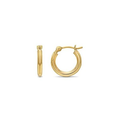 14k Yellow Gold Classic Shiny Polished Round Hoop Earrings, 2mm tube (13mm (0.5 inch))【並行輸入品】