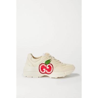 グッチ Gucci レディース スニーカー シューズ・靴 Rhyton logo-print leather sneakers