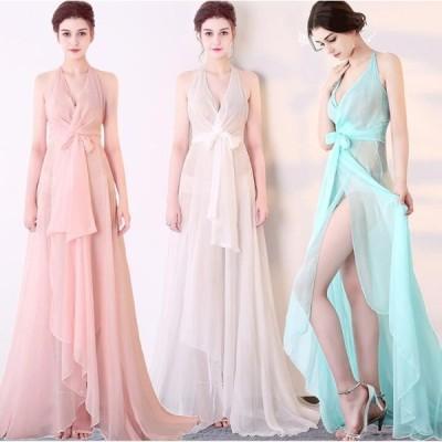 6色 Vネックワンピース ロングドレス  セックシー 二次会 お呼ばれ パーティードレス ウェディングドレス  イブニングドレス 大人 人気