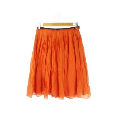 【中古】ロペ ROPE スカート プリーツ ひざ丈 シルク混 絹混 40 オレンジ /YH5 ☆ レディース 【ベクトル 古着】