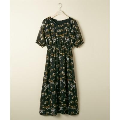 【大きいサイズ】 ウエストシャーリングパフスリーブワンピース【GIVORS】 ワンピース, plus size dress