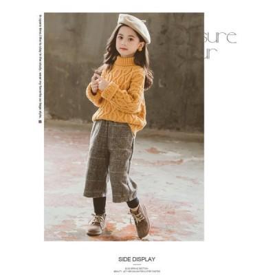 2色!韓国子供服厚手い2点セット春秋冬タートルネックセーター+チェック柄パンツ長袖裹起毛ゆったり女の子キッズこども可愛いカジュアル
