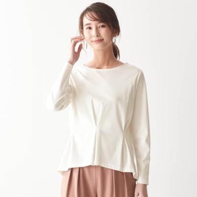 上品な光沢の綿100%ペプラムタックカットソー(花笑むとき/hana emu toki)
