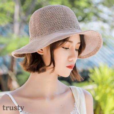 つば広 UVカット UV 帽子 レディース 大きいサイズ 綿ポリブリムUVハット 日よけ 折りたたみ 飛ばない 春 夏
