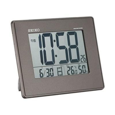 セイコー クロック 目覚まし時計 電波 デジタル 掛置兼用 カレンダー 温度 湿度 表示 大型画面 黒 メタリック SQ770K