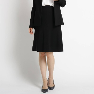 アンタイトル UNTITLED 【洗える】トリアセートネオクロスフレアスカート (ブラック)