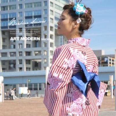 bonheur saisons ボヌールセゾン Jouer ete couleur art modern 浴衣3点セット 薔薇 縞