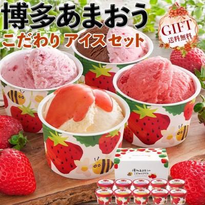 博多あまおうのこだわりアイス 10個入り 高級苺・いちごフェアー 送料無料 ※離島・沖縄・北海道は配送不可