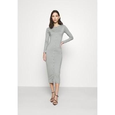 ミスガイデッド レディース ワンピース トップス BUTTON THROUGH MIDI DRESS - Jersey dress - grey grey