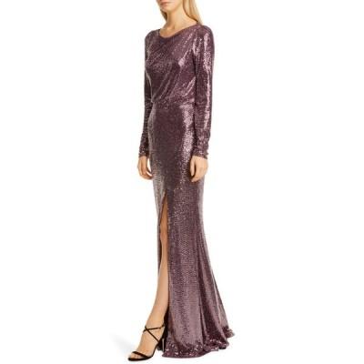 バッドグレイミッシカ ワンピース トップス レディース Badgley Mischka Long Sleeve Sequin Gown Plum
