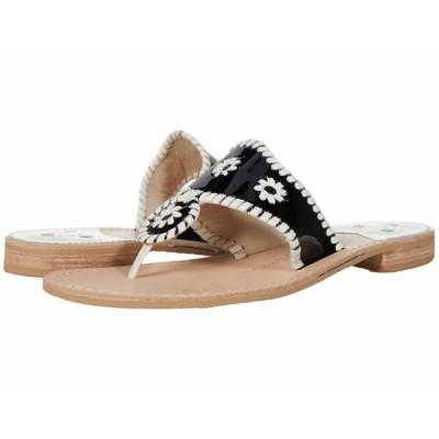 ジャックロジャース サンダル シューズ レディース Jacks Patent Leather Flat Sandal Black/Bone