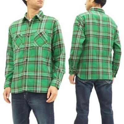 シュガーケーン SC27703 ツイルチェック ワークシャツ メンズ 長袖シャツ #145 グリーン 新品