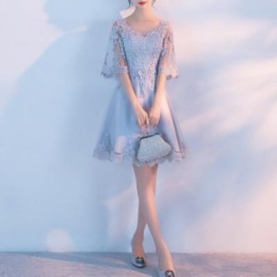 ドレス パーティードレス お呼ばれドレス 結婚式 お呼ばれ ミニ ワンピース 大きいサイズ 袖あり 20代 30代 長袖 3728