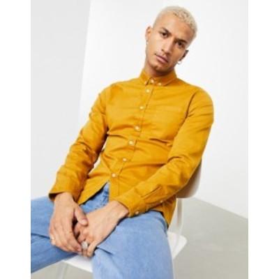 エイソス メンズ シャツ トップス ASOS DESIGN slim fit denim shirt in mustard Mustard