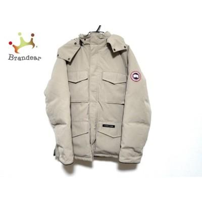 カナダグース ダウンジャケット サイズL/G L メンズ - 4075JM ベージュ×黒 長袖/冬  値下げ 20210306
