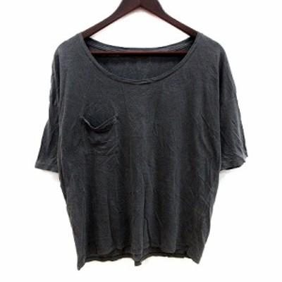 【中古】ゴア goa Tシャツ カットソー クルーネック オーバーサイズ 五分袖 F グレー /MS レディース