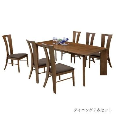 ダイニングテーブルセット 6人 6人用 7点セット 北欧 無垢材 おしゃれ ダイニングセット 6人掛け 幅180cm ブラウン ナチュラル