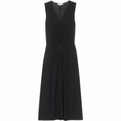 ヴィンス Vince レディース ワンピース ミドル丈 ワンピース・ドレス Linen-blend midi dress Black