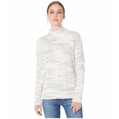 カルバンクライン レディース ニット&セーター アウター Mock Neck Marl Stripe Winter White/Heather Granite