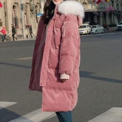 売れ筋 おすすめ 冬 ロングコート 中綿コート コーデュロイ 厚手 あたたか フードファー 膝丈 体型カバー 防寒 袖リブ hf