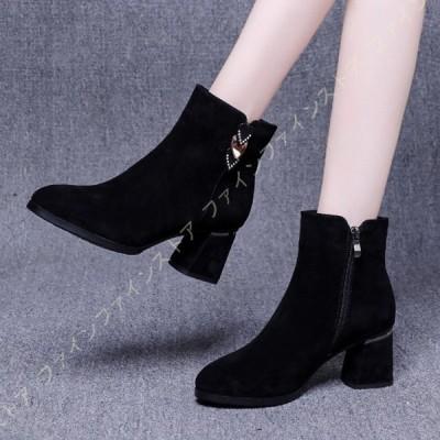 ショートブーツ 痛くない 美脚ブーツ 6.5cm ラウンドトゥ ブーツ チャンキーヒール シンプル スエード調 歩きやすい 柔らかい 疲れない レディース靴 黒