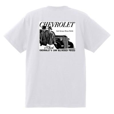 アドバタイジング シボレー Tシャツ 182 白 1938 オールディーズ 1950's 1960's ローライダー ホットロッド マスタートラック